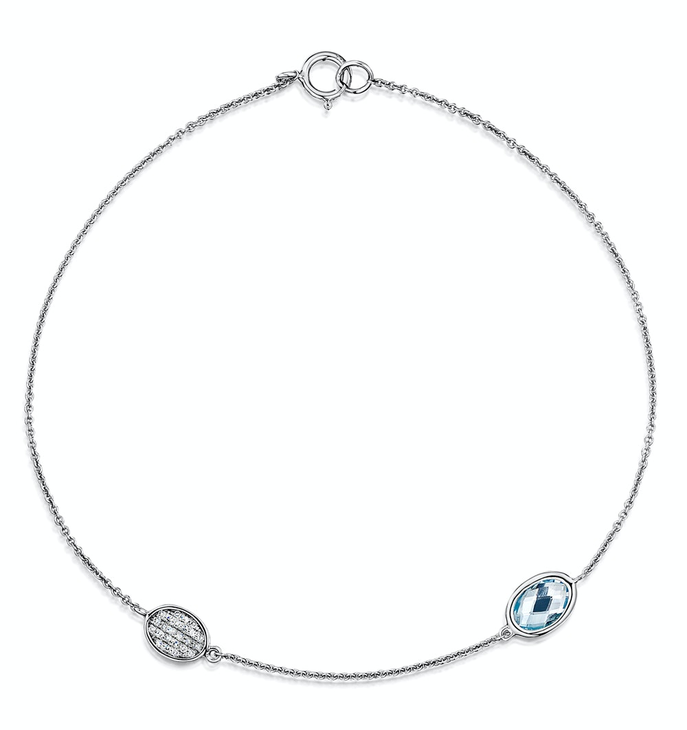 Blue Topaz and Diamond Stellato Bracelet 0.05ct in 9K White Gold