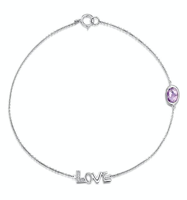 Amethyst and Diamond Stellato Bracelet 0.02ct in 9K White Gold - image 1