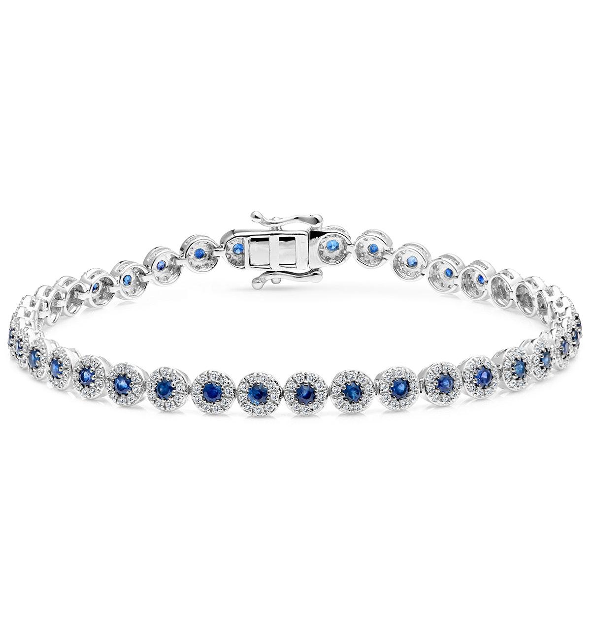1.62ct Sapphire and 1ct Diamond Stellato Bracelet in 9K White Gold