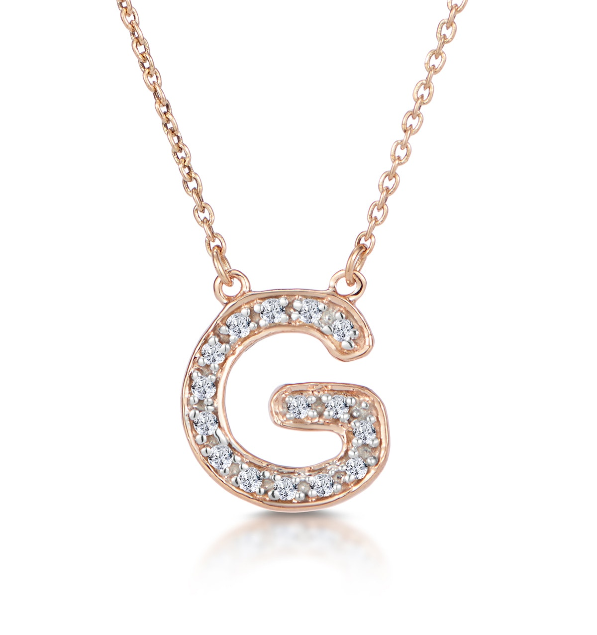 Initial 'G' Necklace Diamond Encrusted Pave Set in 9K Rose Gold
