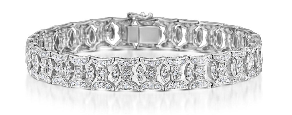 18K White Gold Diamond Pave Wide Bracelet