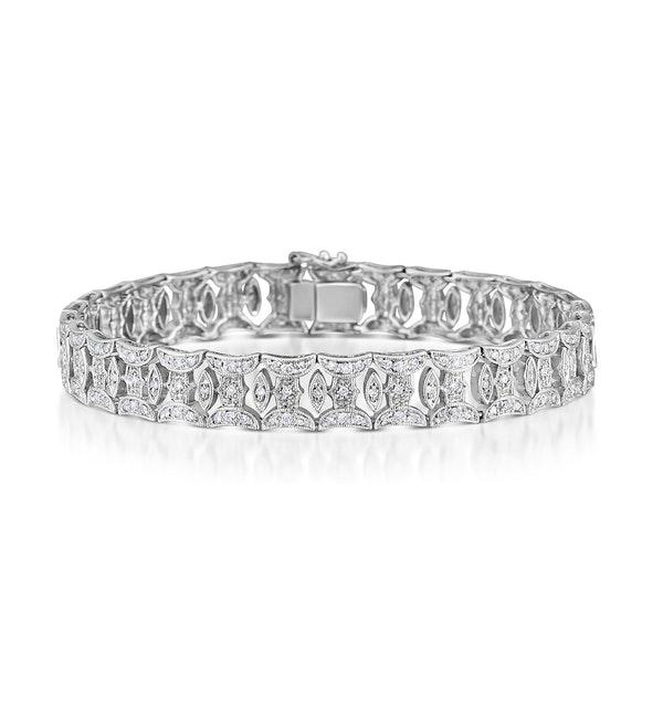 18K White Gold Diamond Pave Wide Bracelet - image 1