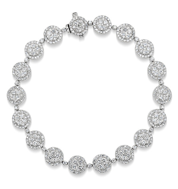 Halo Bracelet with 5CT of Diamonds in 18K White Gold - J3353
