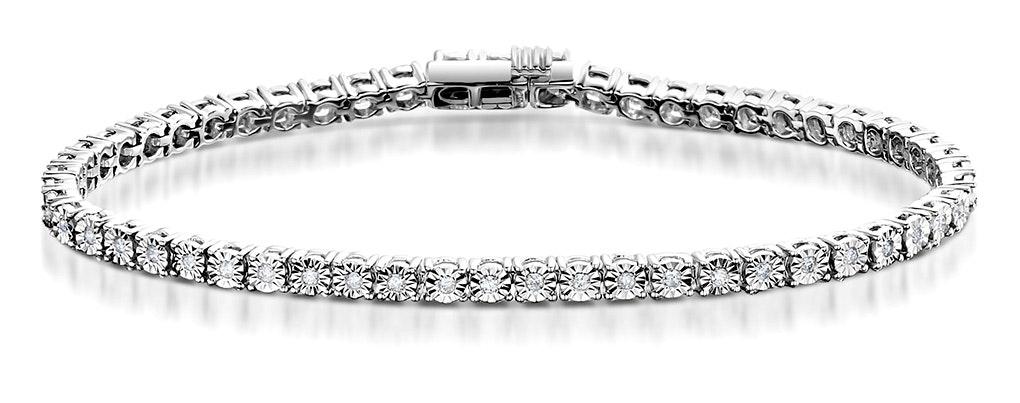 Diamond Tennis Bracelet 4ct Look 18K White Gold - J3355