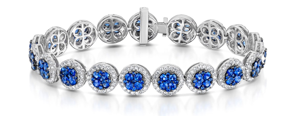 Diamond Halo and Sapphire Bracelet in 18K White Gold Bracelet J3357W