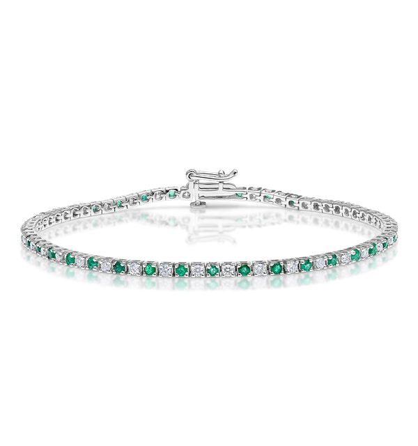 Emerald and 1ct Diamond Tennis Bracelet in 18K White Gold - image 1