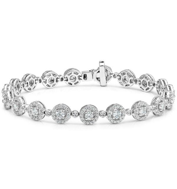 Diamond Halo Bracelet  6.78ct in 18K White Gold - Asteria Collection - image 1
