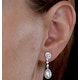 Stellato Collection Pearl and Diamond Earrings in 9K White Gold - image 4