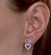 Pink Sapphire and Diamond Stellato Heart Earrings in 9K White Gold - image 4