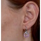 Stellato Collection Pink Sapphire and Diamond Earrings 9K White Gold - image 4