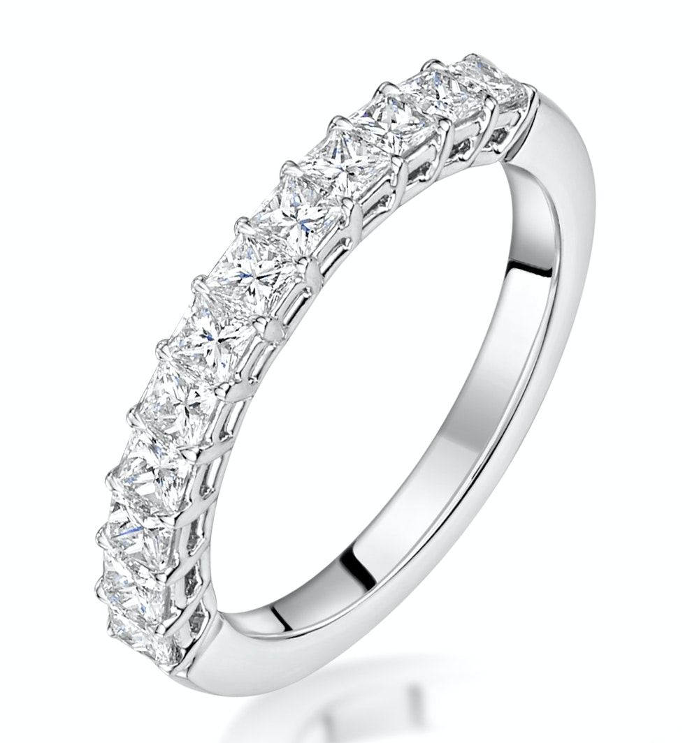 Clara Diamond Eternity Ring Princess Cut 0.88ct VVs Platinum Size H-I