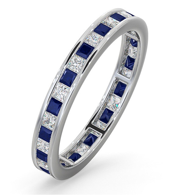 Eternity Ring Lauren Diamonds H/SI and Sapphire 1.20CT -18K White Gold - image 1