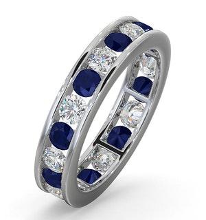 ETERNITY RING RAE DIAMONDS G/VS AND SAPPHIRE 1.90CT - 18K WHITE GOLD