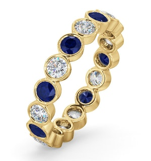 EMILY 18K GOLD SAPPHIRE 0.70CT AND H/SI 1CT DIAMOND ETERNITY RING