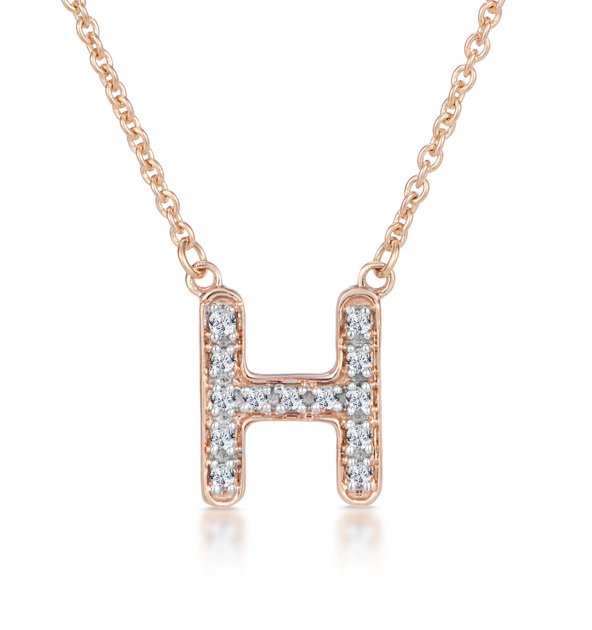 Initial 'H' Necklace Diamond Encrusted Pave Set in 9K Rose Gold