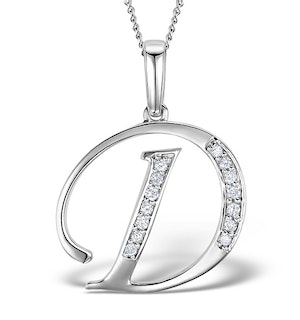 9K WHITE GOLD DIAMOND INITIAL 'D' NECKLACE 0.05CT