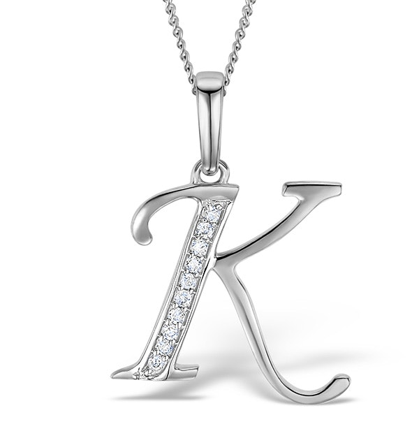 9K White Gold Diamond Initial 'K' Necklace 0.05ct