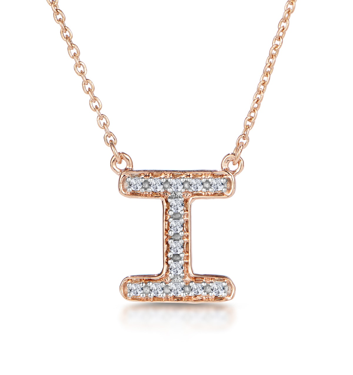 Initial 'I' Necklace Diamond Encrusted Pave Set in 9K Rose Gold