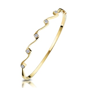 1/4 CARAT FIVE STONE DIAMOND STUDDED BANGLE IN 9K GOLD
