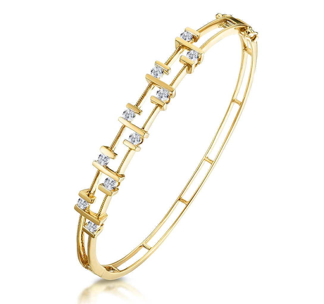 0.70ct Diamond Studded Lattice Style Bracelet in 9K Gold