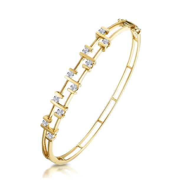 0.70ct Diamond Studded Lattice Style Bracelet in 9K Gold - image 1