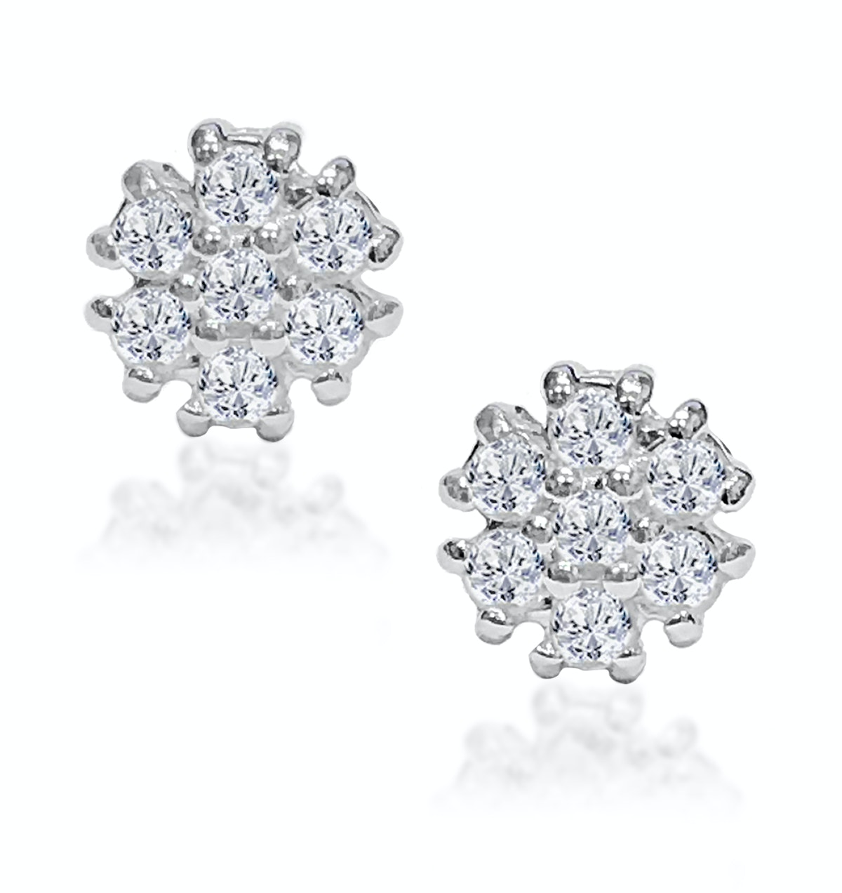 Tesoro Flower White Topaz Cluster Earrings