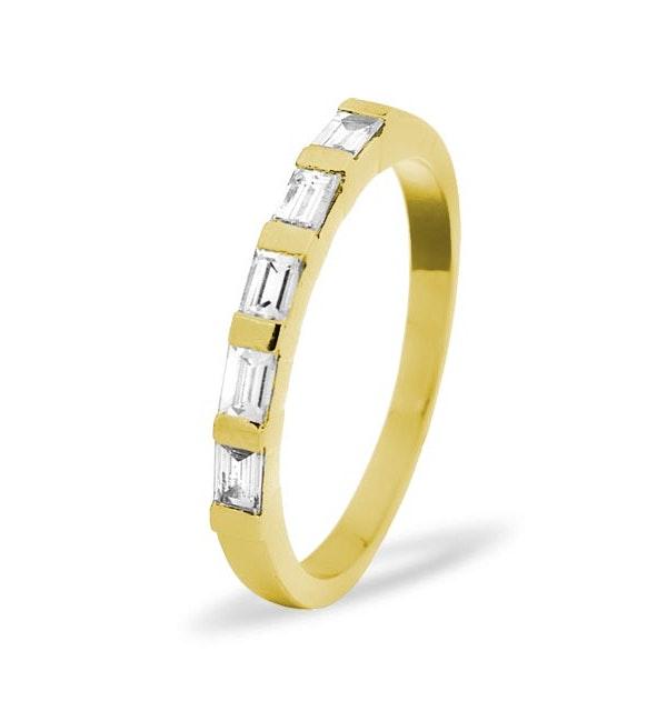 18K Gold Emerald Cut Diamond Eternity Ring - Size N - image 1
