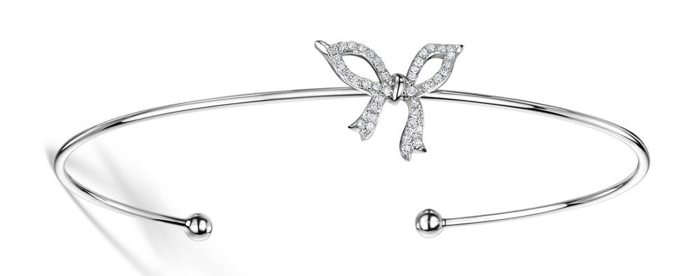 Diamond Bow Bangle 0.19ct Set in 9K White Gold - L3332