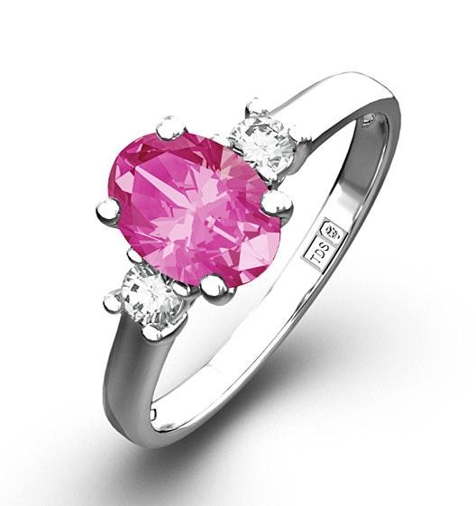 18K White Gold Diamond Pink Sapphire 0.85ct Ring