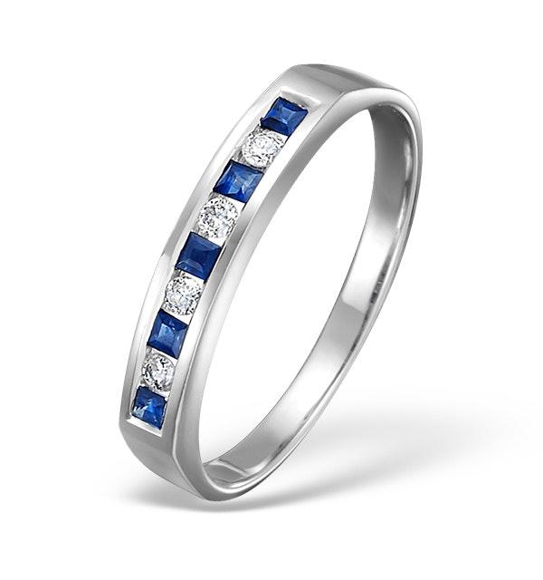 Sapphire 0.20ct And Diamond 9K White Gold Ring - image 1