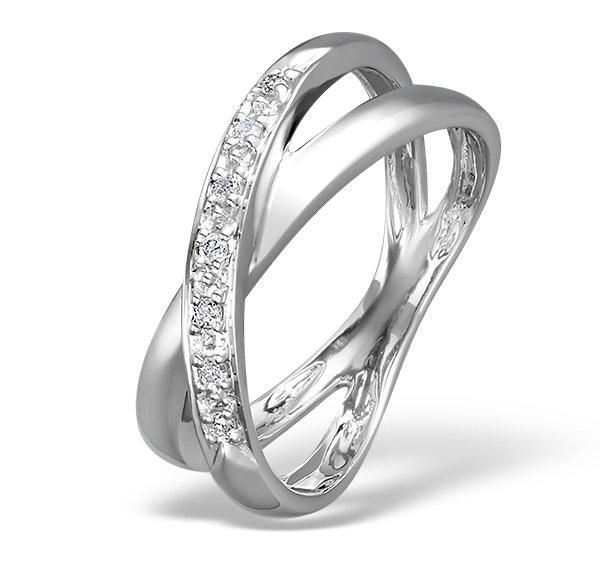 Diamond 0.08CT 18K White Gold Cross-Over Ring