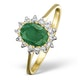 Emerald 0.83ct And Diamond 9K Gold Ring - Size S - image 1