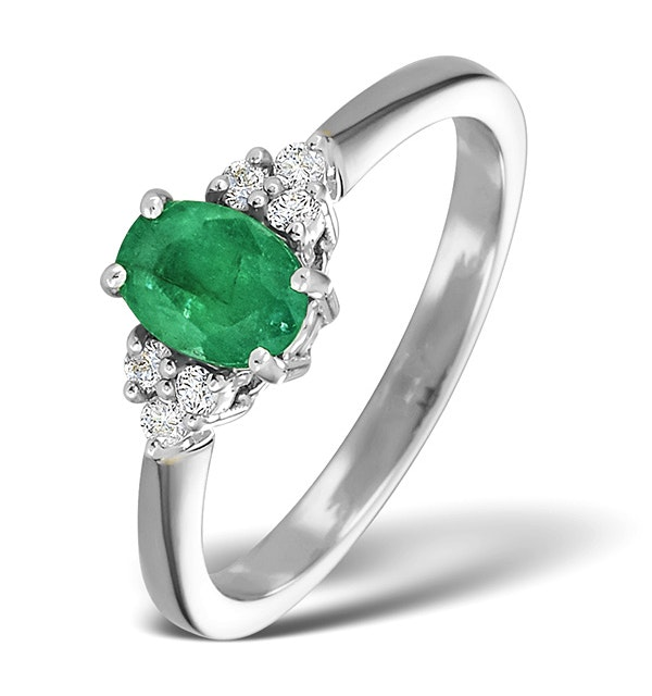 Emerald 0.75ct And Diamond 18K White Gold Ring - image 1
