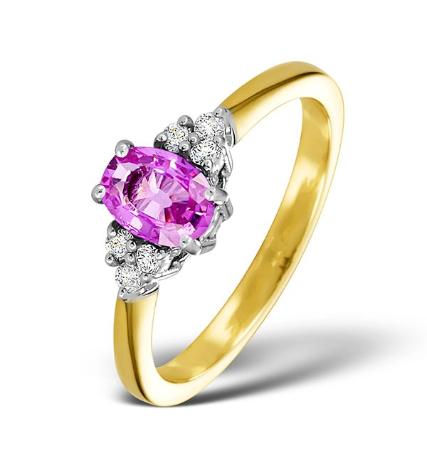 18K Gold 0.85ct Pink Sapphire and 0.12ct Diamond Ring