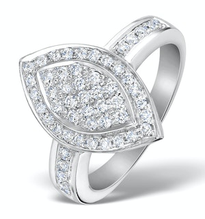 OVAL SHAPED DIAMOND 0.50CT AND 18K WHITE GOLD PAVE RING