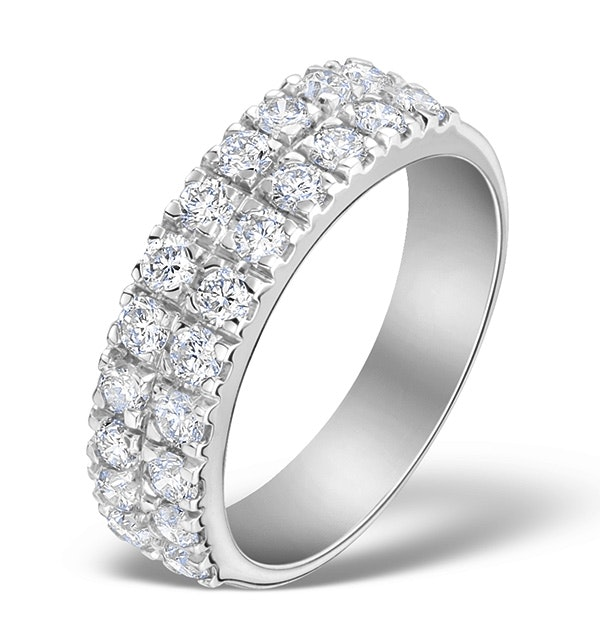2 Row Diamond 1.00ct And 18K White Gold Half Eternity Ring - N4499