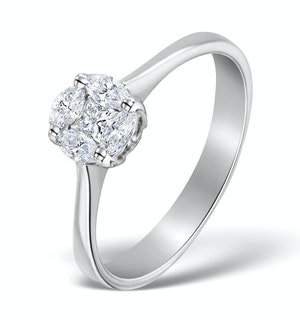 GALILEO 1.00CT LOOK DIAMOND 0.38CT AND 18K WHITE GOLD RING