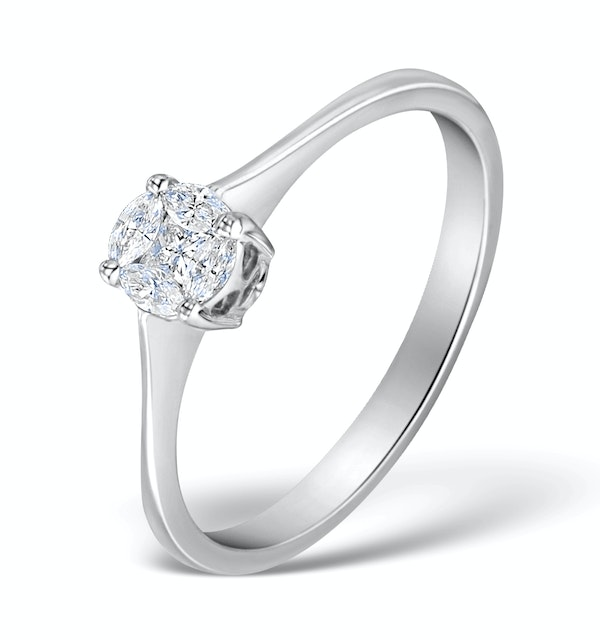Galileo 0.50ct Look Diamond 0.17ct And 18K White Gold Ring - image 1