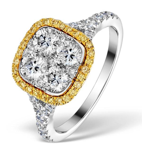 Halo Engagement Ring Angelina 1.50ct Yellow Diamonds 18K White Gold