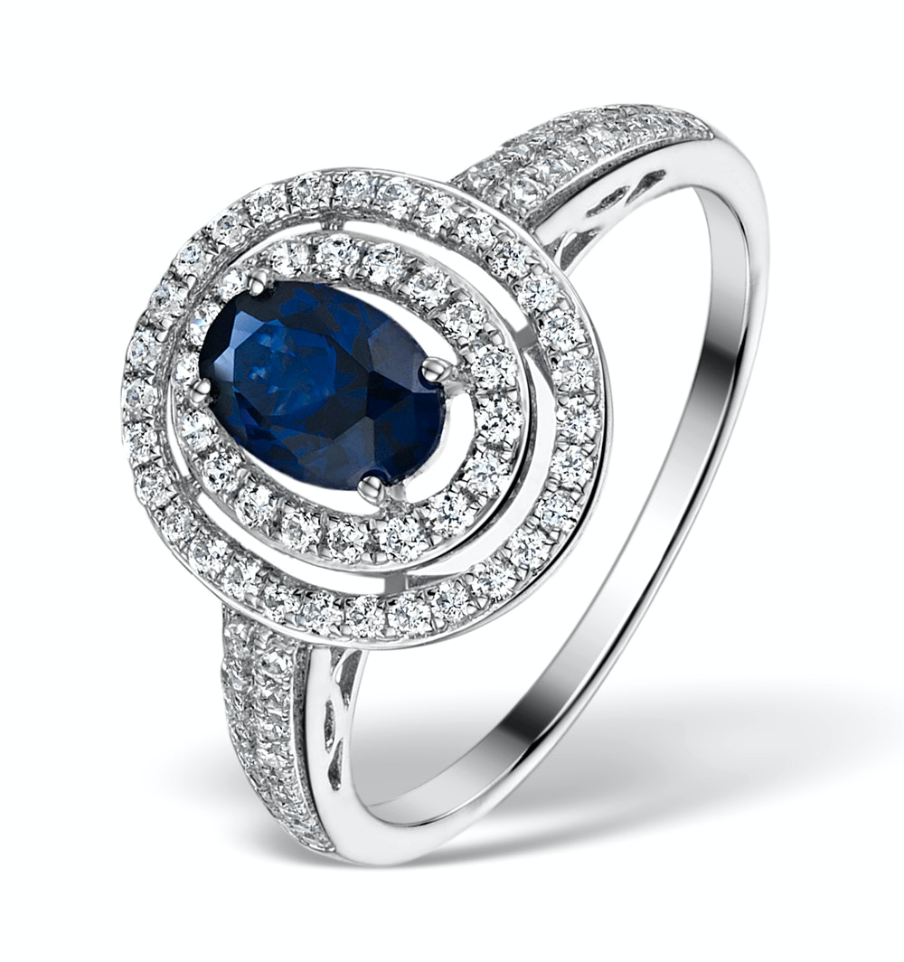 Sapphire Ring with a Diamond Halo 1ct in 18K White Gold N4523
