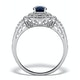 Sapphire Ring with a Diamond Halo 1ct in 18K White Gold N4523 - image 2
