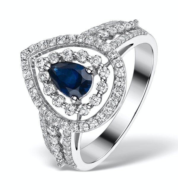 Sapphire Ring with a Diamond Halo 0.78ct in 18K White Gold N4524 - image 1