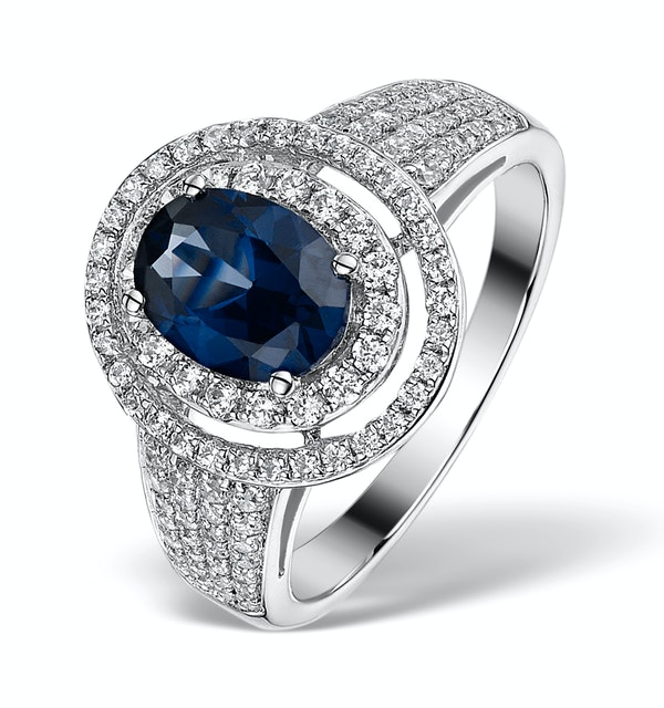 Sapphire Ring with a Diamond Halo 0.65ct in 18K White Gold N4525 - image 1