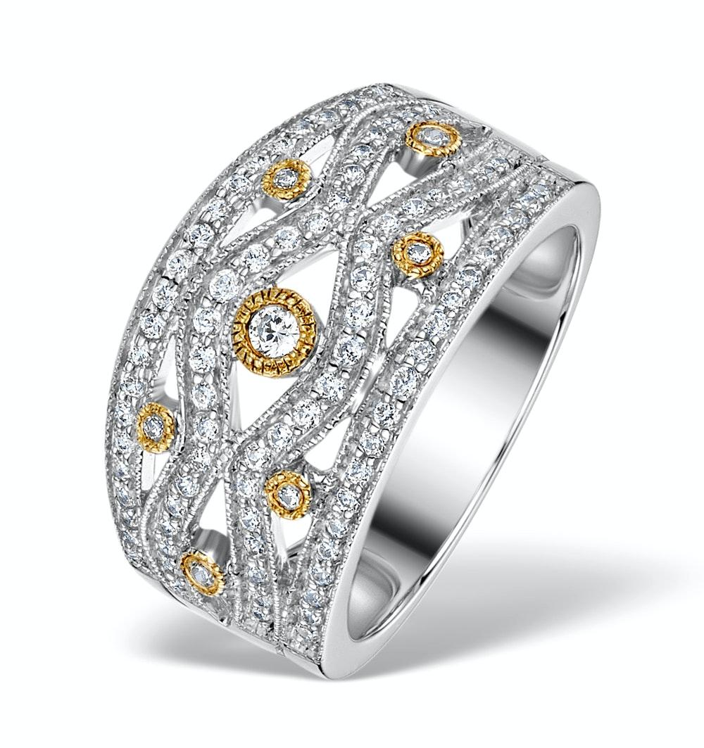 Wide Diamond Ring - Aspen - 0.41ct set in 18K White Gold N4526