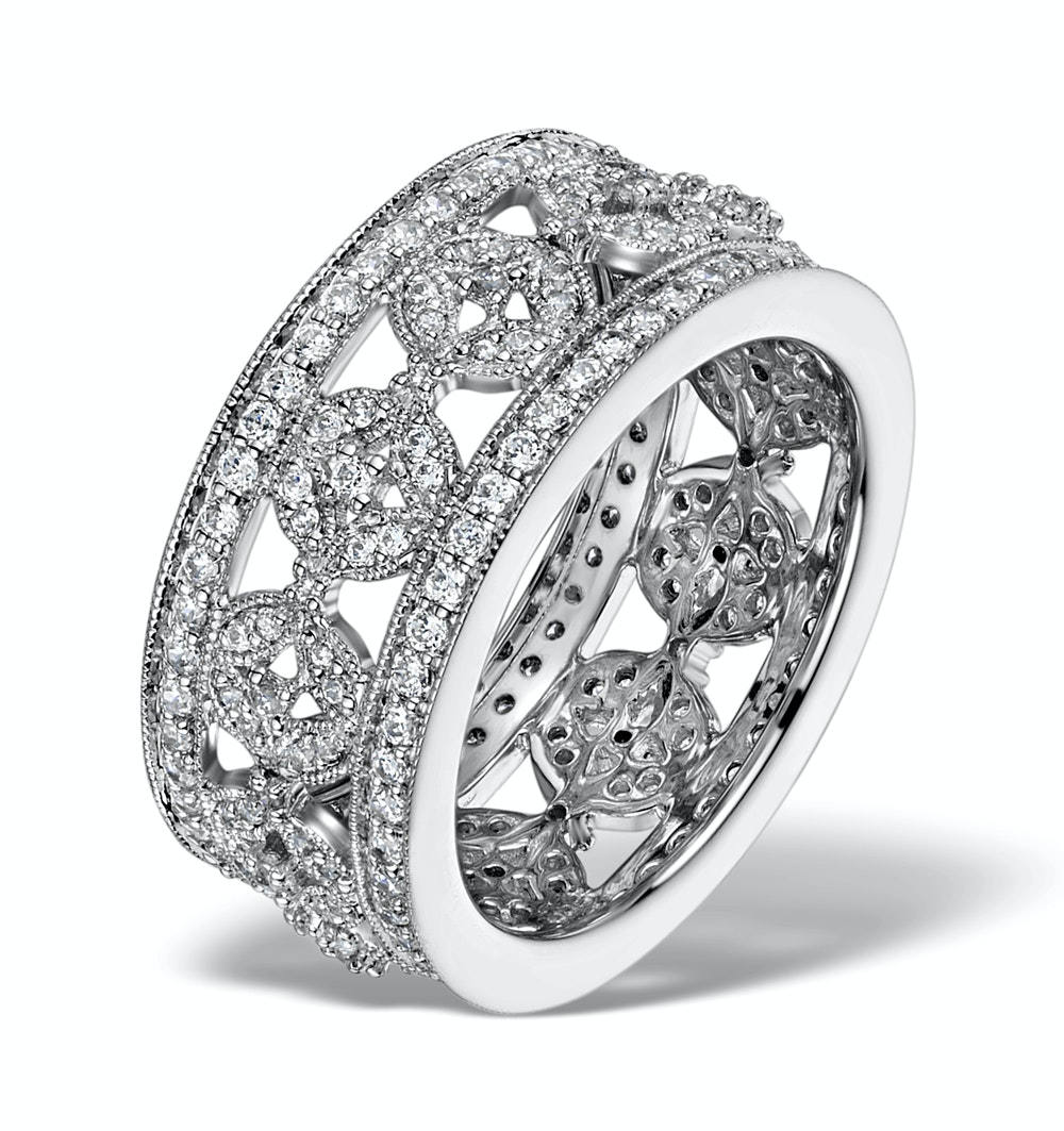 Wide Diamond Ring - Soleil - 1.27ct in 18K White Gold - N4527