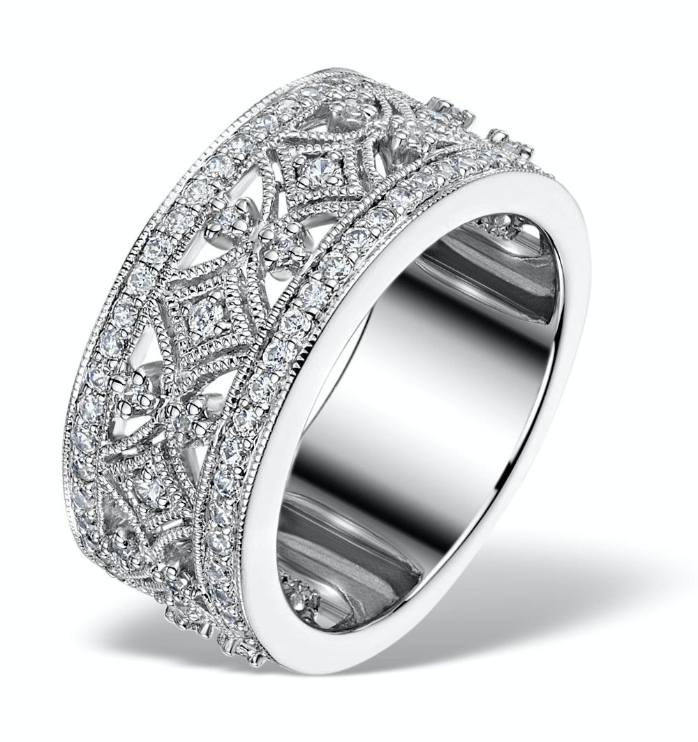 Vintage Wide Diamond Ring - Florence - 0.75ct 18K White Gold - N4528