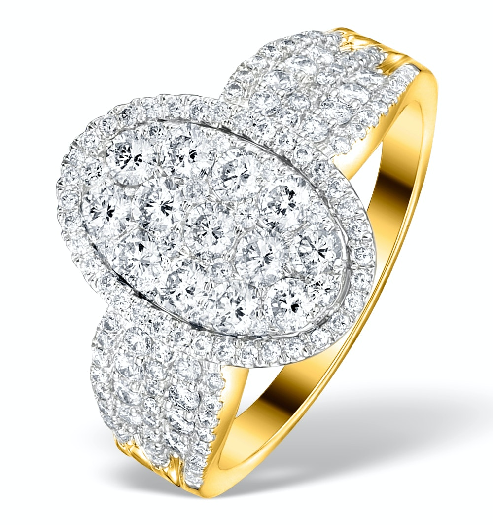 Diamond Galileo 1.50CT Oval Side Stone Ring in 18K Gold - N4535