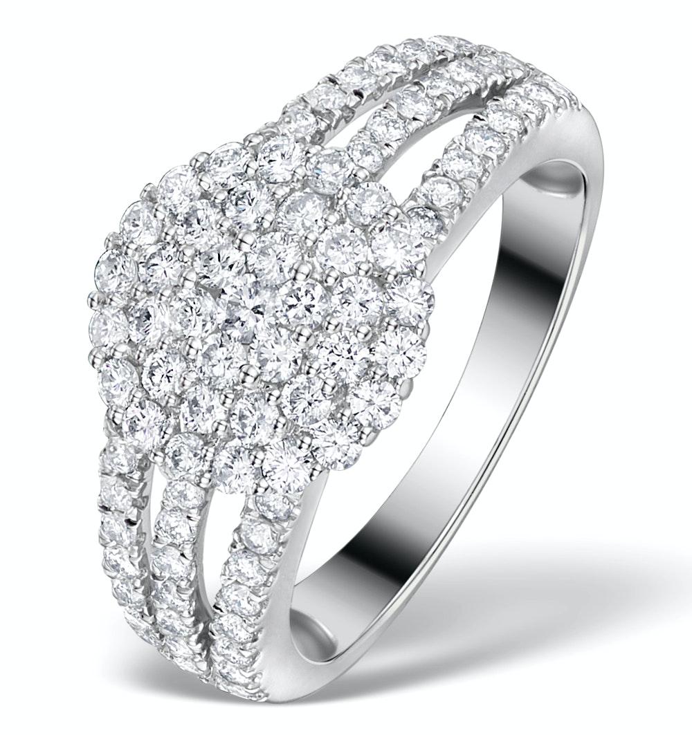 Diamond 3 Row Galileo 1.30CT Diamond 18K White Gold Ring - N4530Y