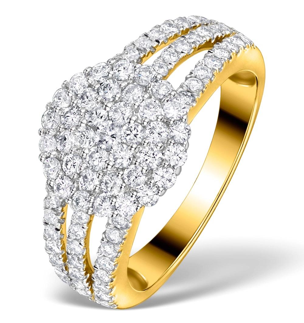Diamond 3 Row Galileo 1.30CT Diamond and 18K Gold Ring - N4530