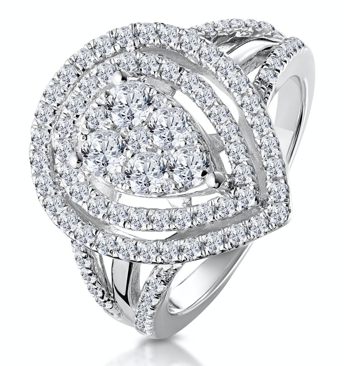 Calice Diamond Pave Pear Shape Halo Ring 1.30ct in 18K White Gold